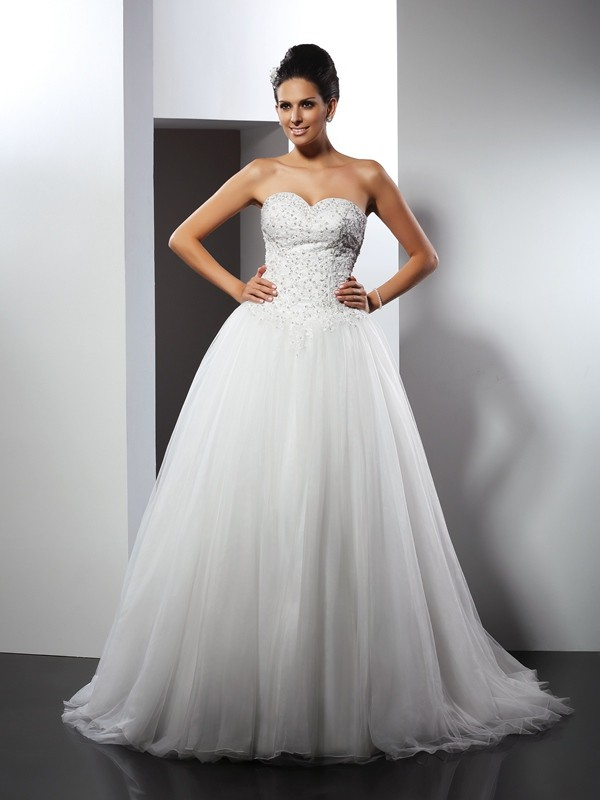 Time to Shine Princess Style Sweetheart Applique Long Net Wedding Dresses