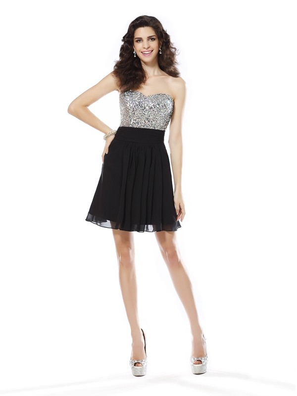 Desired Spotlight Princess Style Sweetheart Beading Short Chiffon Cocktail Dresses