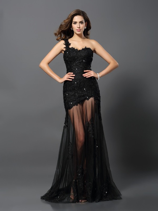 Festive Self Sheath Style One-Shoulder Applique Long Lace Dresses