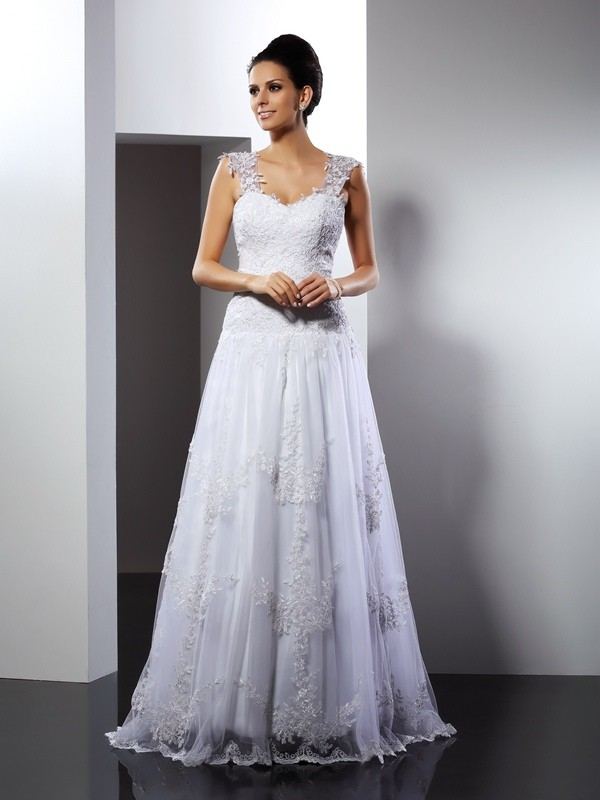 Pretty Looks Princess Style Straps Applique Long Lace Wedding Dresses