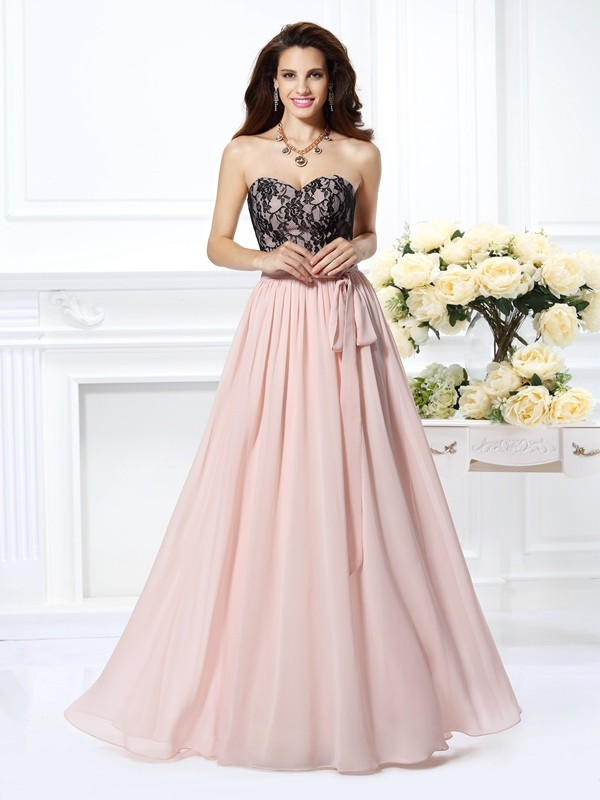 Pleased to be Me Princess Style Sweetheart Lace Long Chiffon Dresses