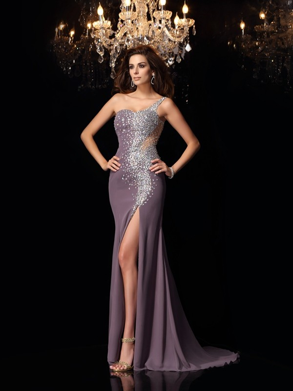 Fabulous Fit Mermaid Style One-Shoulder Rhinestone Long Chiffon Dresses