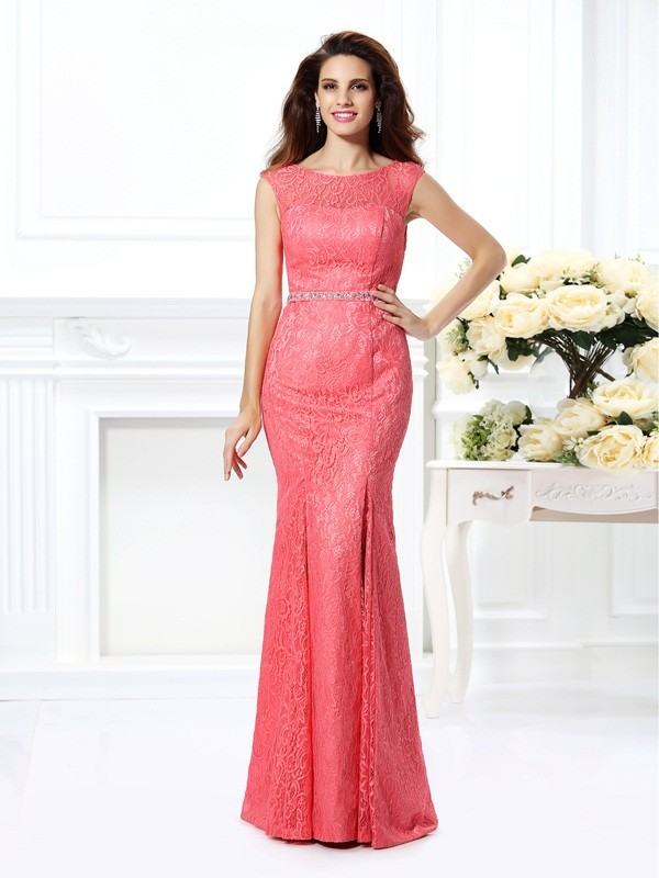Open to Adoration Mermaid Style Bateau Beading Long Lace Dresses