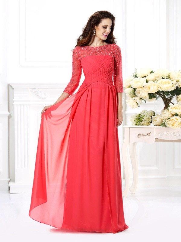 Lively Identity Princess Style Scoop Beading Long Chiffon Dresses