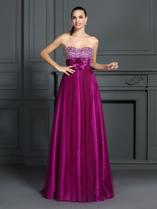 Embracing Grace Princess Style Sweetheart Hand-Made Flower Long Elastic Woven Satin Dresses