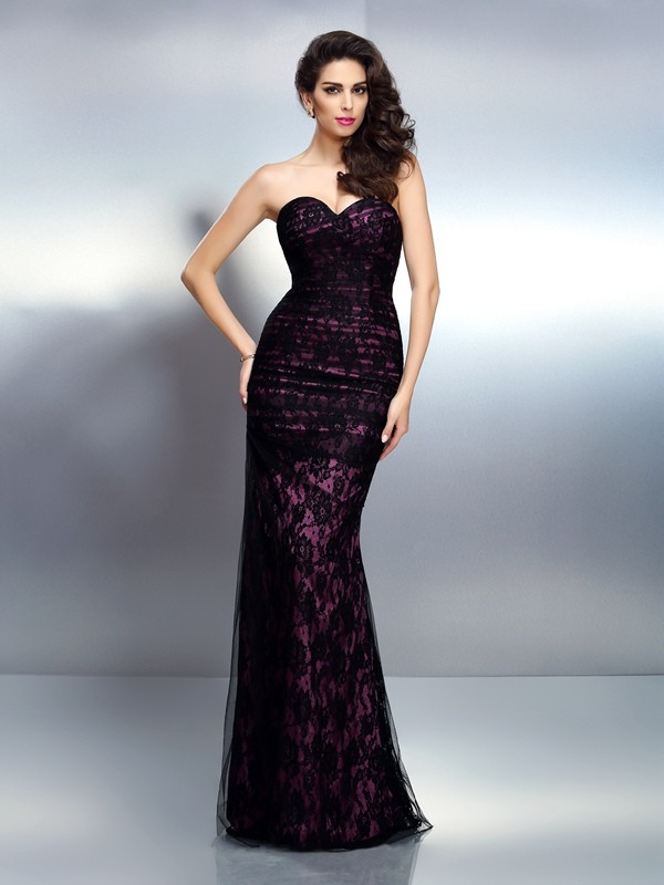 Eye-Catching Charm Mermaid Style Sweetheart Lace Long Elastic Woven Satin Dresses