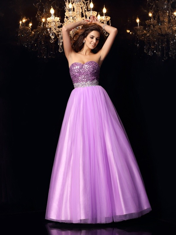 Aesthetic Honesty Ball Gown Sweetheart Sequin Long Elastic Woven Satin Quinceanera Dresses