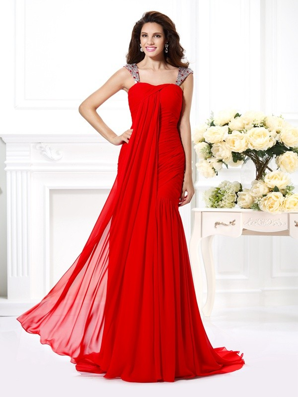 Limitless Looks Mermaid Style Straps Beading Rhinestone Long Chiffon Dresses