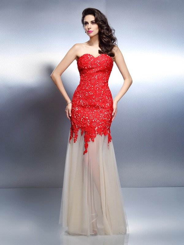 Styled to Smile Princess Style Sweetheart Applique Long Net Dresses