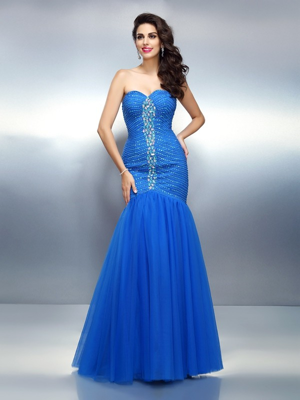 Glitz the Spot Mermaid Style Sweetheart Rhinestone Long Satin Dresses