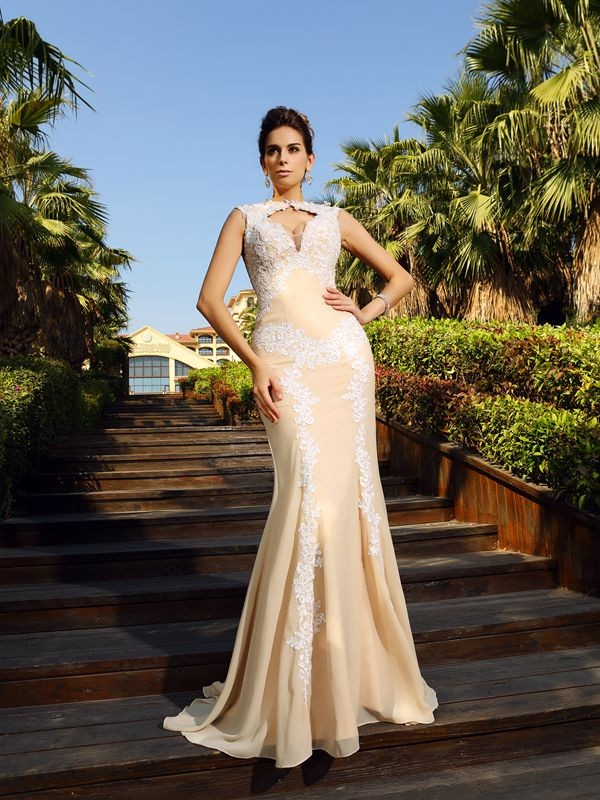 Absolute Lovely Sheath Style High Neck Applique Long Chiffon Dresses