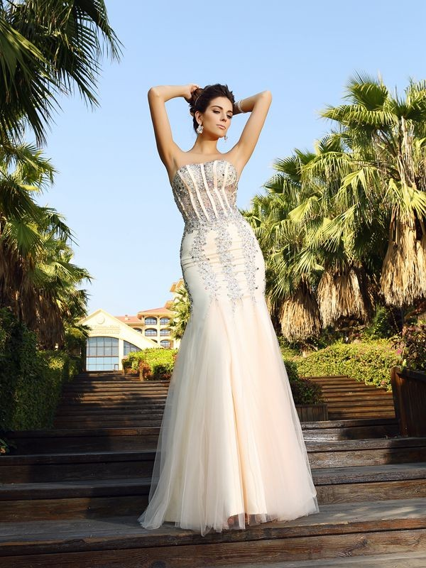 Aesthetic Honesty Mermaid Style Strapless Beading Long Satin Dresses
