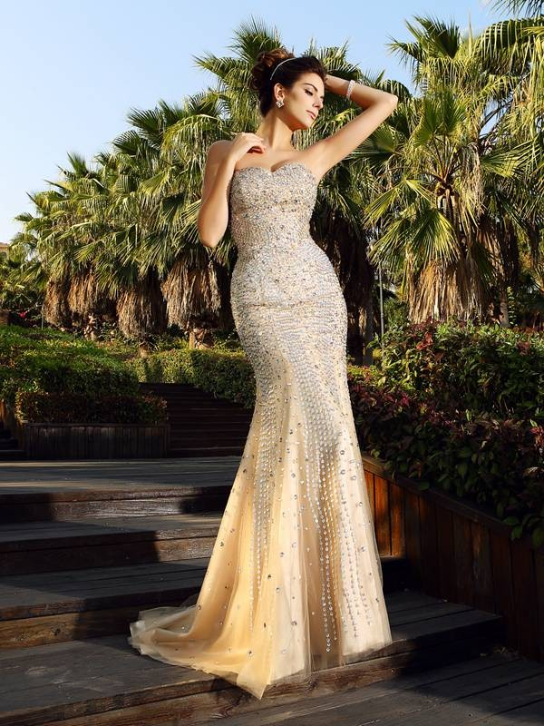 Pleasant Emphasis Mermaid Style Sweetheart Beading Long Satin Dresses