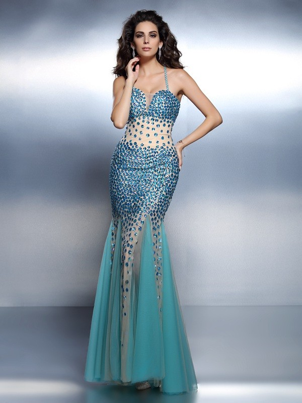 Creative Courage Mermaid Style Spaghetti Straps Rhinestone Long Satin Dresses