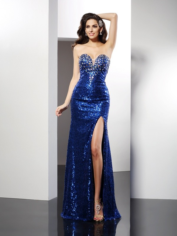 Sweet Sensation Sheath Style Sweetheart Sequin Long Sequins Dresses