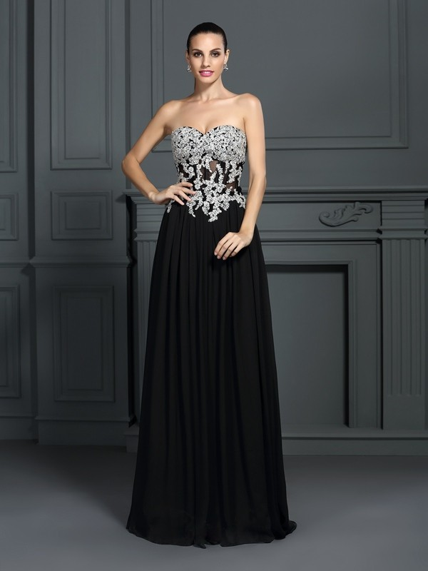 Styled to Smile Princess Style Sweetheart Applique Long Chiffon Dresses