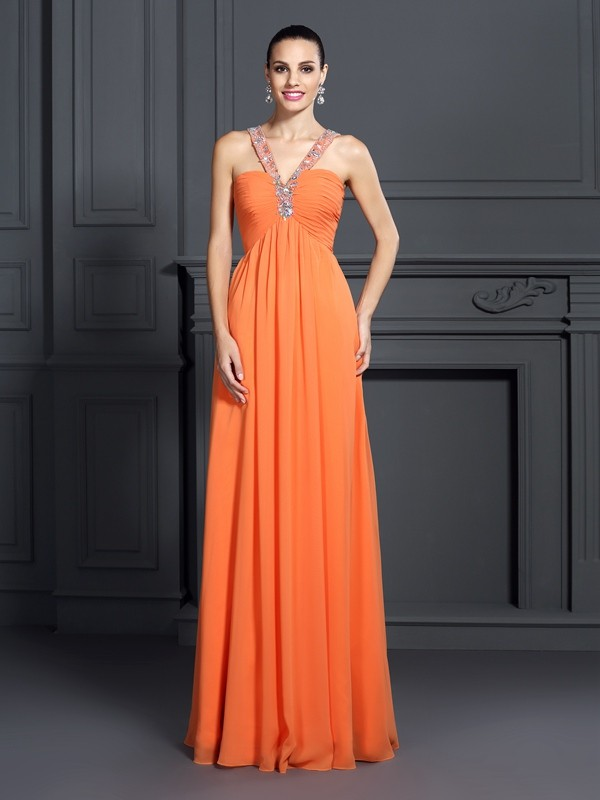 Pretty Looks Princess Style Halter Beading Long Chiffon Dresses