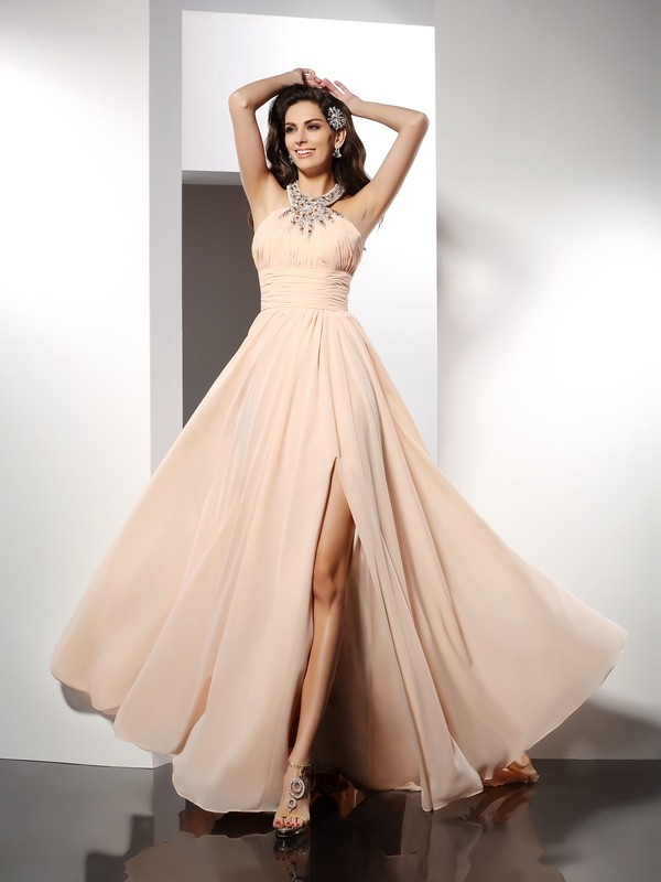 Pleasant Emphasis Princess Style Jewel Ruffles Long Chiffon Dresses