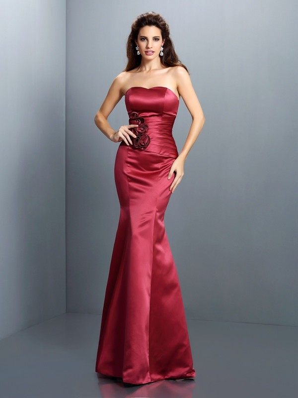 Creative Courage Mermaid Style Strapless Hand-Made Flower Long Satin Dresses