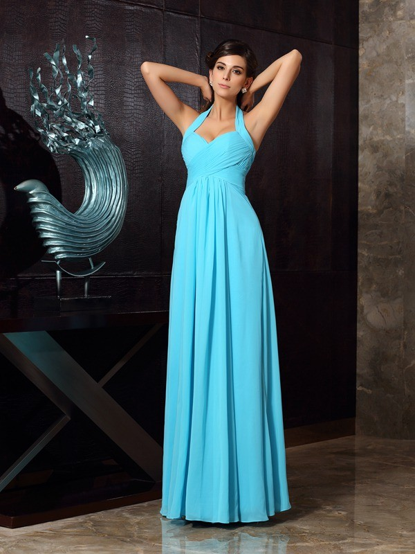 Easily Adored Princess Style Halter Pleats Long Chiffon Dresses