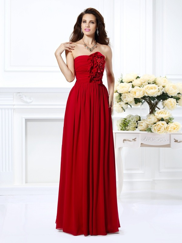 Dashing Darling Princess Style Strapless Hand-Made Flower Long Chiffon Bridesmaid Dresses