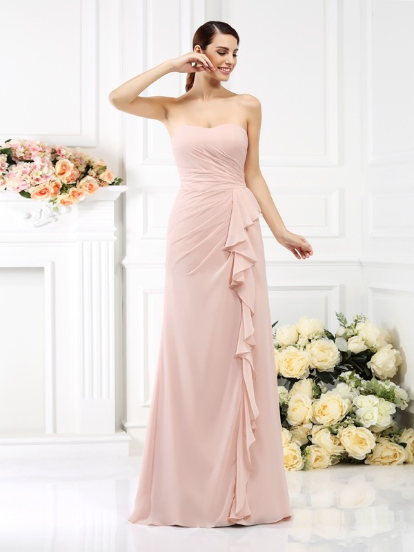 Absolute Lovely Princess Style Strapless Pleats Long Chiffon Bridesmaid Dresses