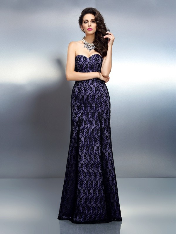 Creative Courage Mermaid Style Sweetheart Lace Long Satin Dresses