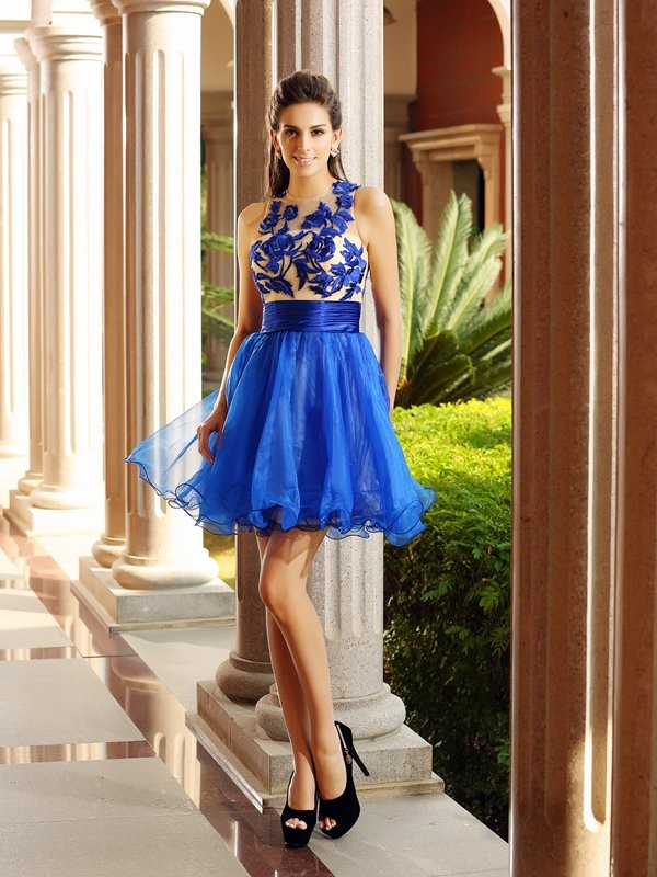 Dancing Queen Princess Style Bateau Beading Short Organza Cocktail Dresses