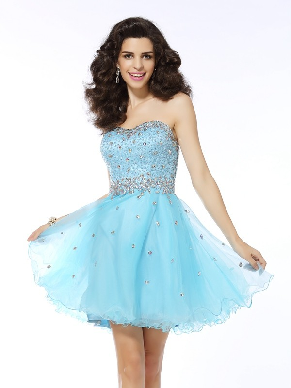 Yours Truly Princess Style Sweetheart Ruffles Short Organza Cocktail Dresses