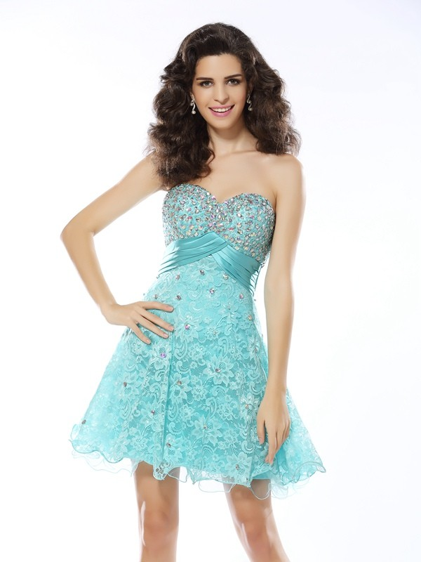 Touch of Texture Princess Style Sweetheart Ruffles Short Satin Cocktail Dresses