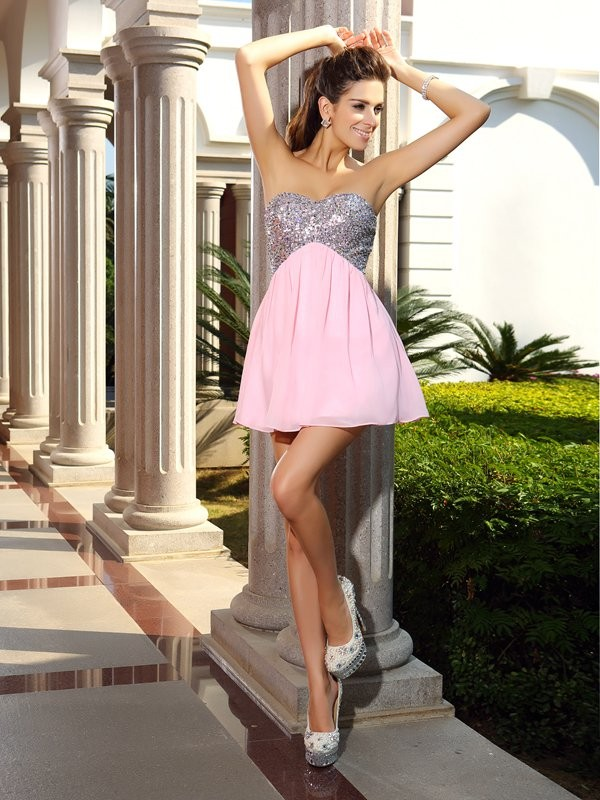 Easily Adored Princess Style Sweetheart Sequin Short Chiffon Cocktail Dresses