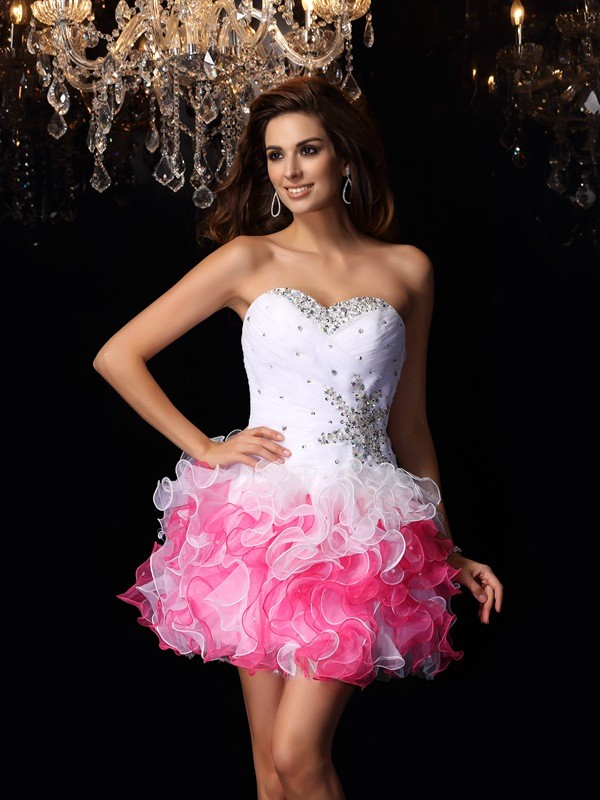 Befits Your Brilliance Princess Style Sweetheart Ruffles Short Organza Cocktail Dresses