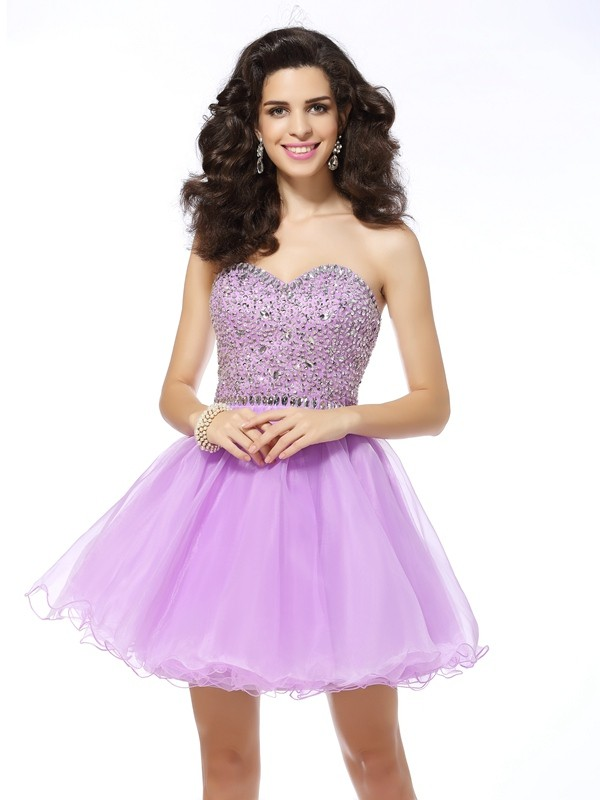 Styled to Smile Princess Style Sweetheart Ruffles Short Organza Cocktail Dresses