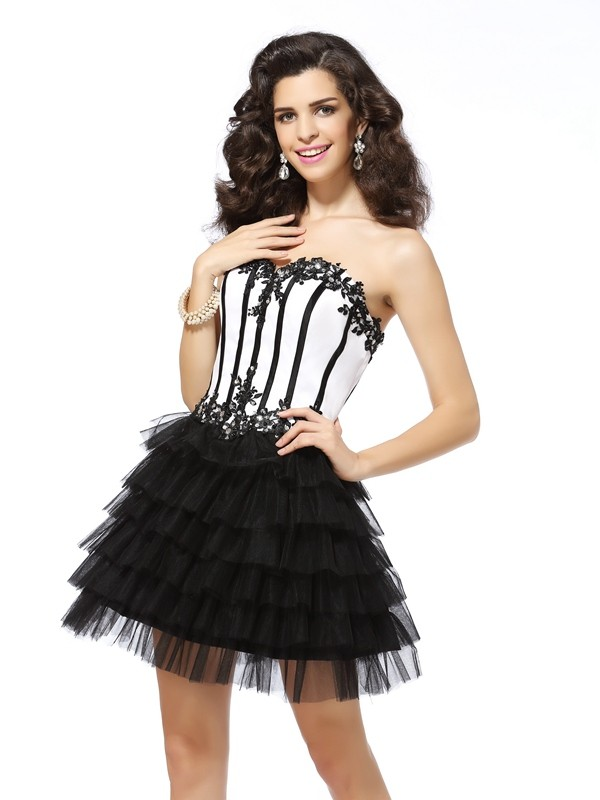 First Impressions Princess Style Sweetheart Applique Short Tulle Cocktail Dresses