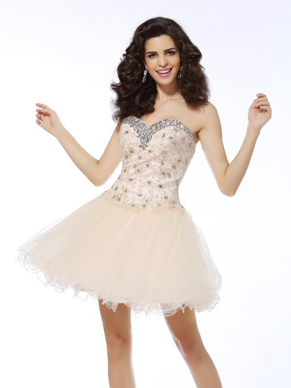 Beautiful You Princess Style Sweetheart Ruffles Short Satin Cocktail Dresses