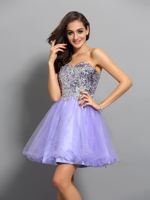 Automatic Classic Princess Style Sweetheart Beading Applique Short Net Cocktail Dresses