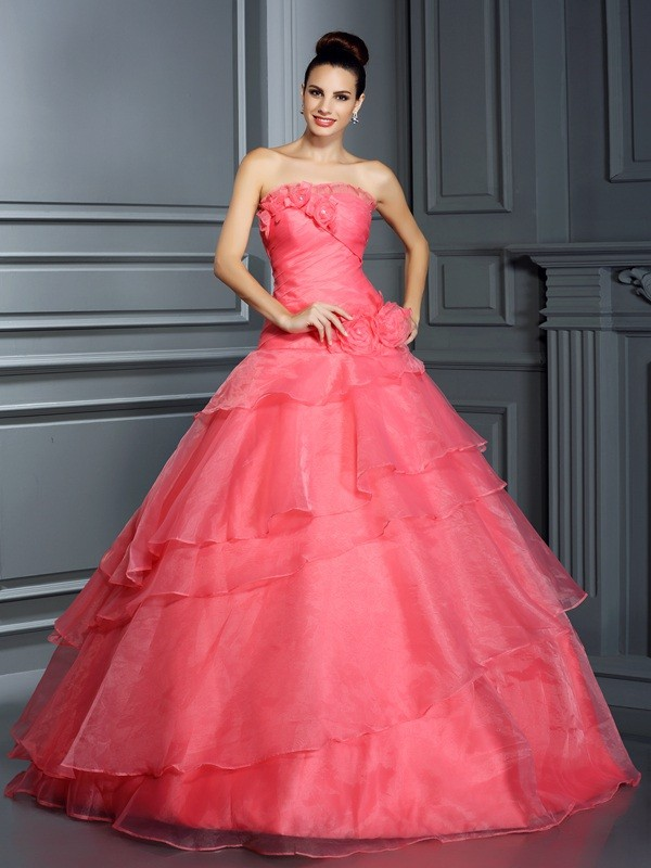 Fabulous Fit Ball Gown Strapless Hand-Made Flower Long Organza Quinceanera Dresses