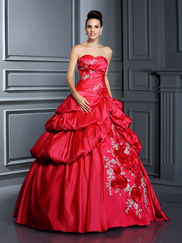 Stylish Refresh Ball Gown Sweetheart Hand-Made Flower Long Taffeta Quinceanera Dresses
