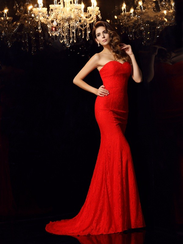 Savor the Occasion Mermaid Style Sweetheart Lace Long Lace Dresses