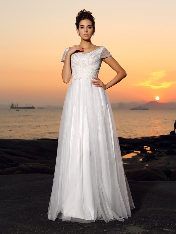 Intuitive Impact Princess Style Off-the-Shoulder Beading Long Tulle Beach Wedding Dresses