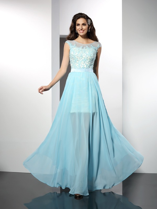 Desired Spotlight Princess Style Bateau Applique Long Chiffon Dresses