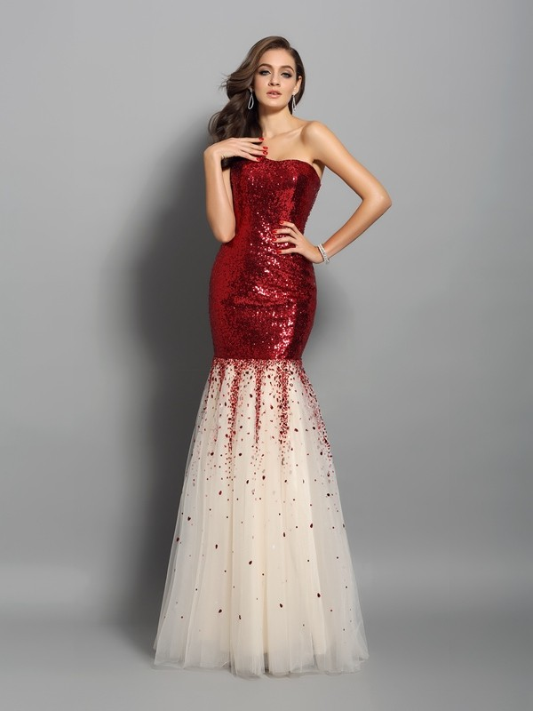 Comfortably Chic Mermaid Style One-Shoulder Long Sequins Dresses