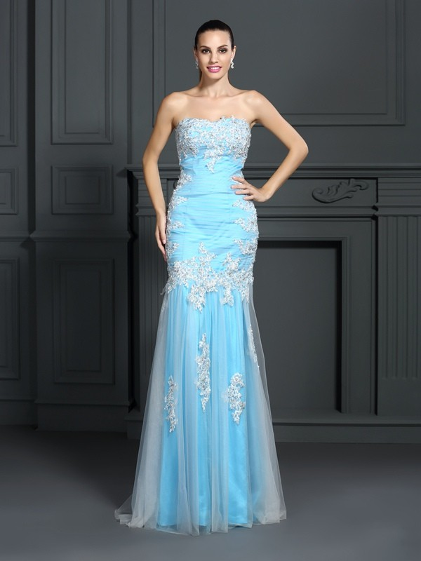 Creative Courage Mermaid Style Strapless Applique Long Elastic Woven Satin Dresses
