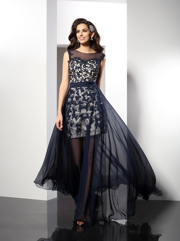 Automatic Classic Princess Style Scoop Long Elastic Woven Satin Dresses