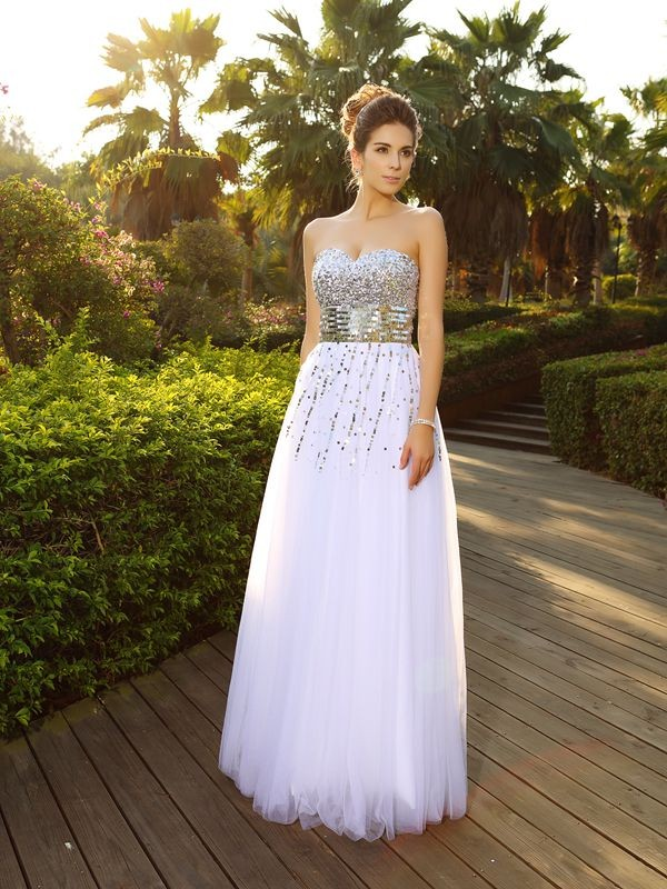 Festive Self Princess Style Sweetheart Beading Long Organza Dresses