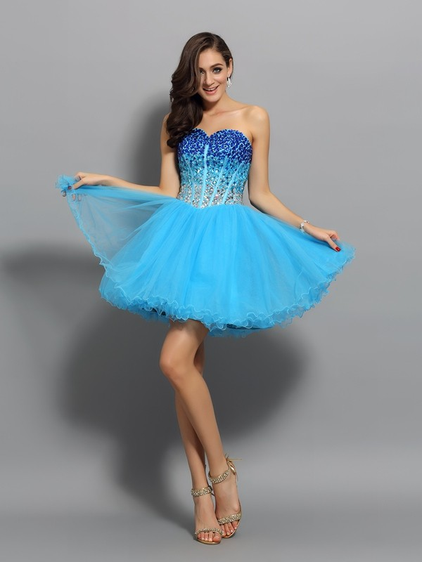 Confident Option Princess Style Sweetheart Ruffles Short Satin Cocktail Dresses