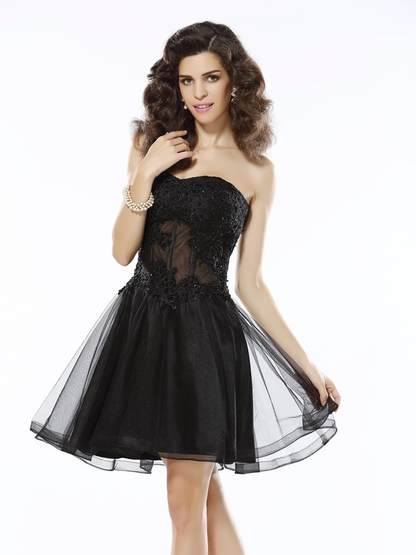 Fabulous Fit Princess Style Sweetheart Applique Short Satin Cocktail Dresses