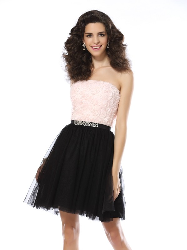 Cheerful Spirit Princess Style Strapless Short Tulle Cocktail Dresses