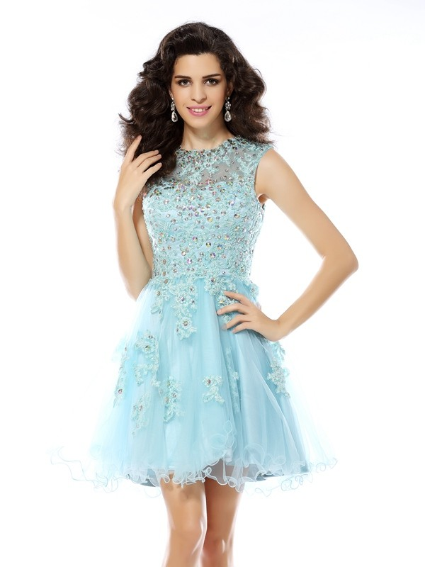 Embracing Grace Princess Style Scoop Beading Applique Short Satin Cocktail Dresses