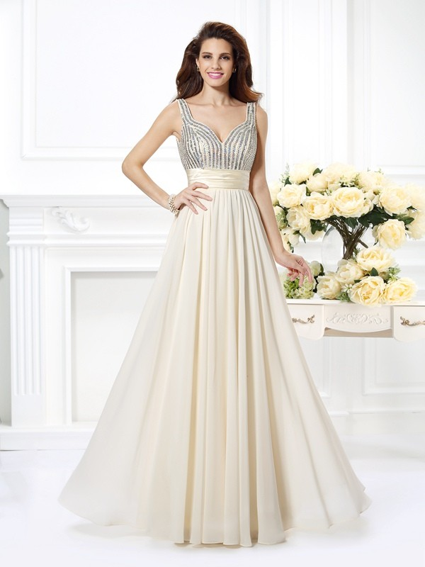 Aesthetic Honesty Princess Style Straps Beading Long Chiffon Dresses